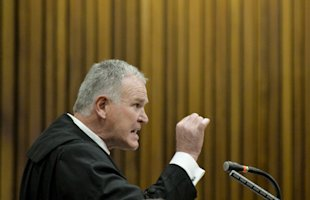 Chief defense lawyer for Oscar Pistorius, Barry Roux, addresses the court Friday. (AP)