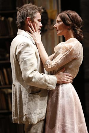 """This theater image released by The Publicity Office shows Ethan Hawke, left, and Joely Richardson in a scene from """"Ivanov,"""" performing off-Broadway at Classic Stage Company in New York. (AP Photo/The Publicity Office; Joan Marcus)"""
