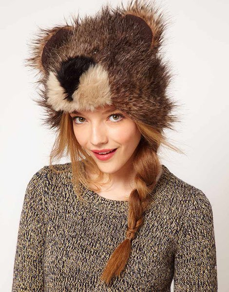 Asos 3D bear fur hat, $38.70, asos.com