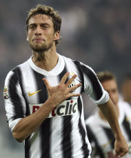 Juventus midfielder Claudio Marchisio celebrates after scoring during a Serie A soccer match between Juventus and Cesena at the Juventus stadium in Turin, Italy, Sunday, Dec, 4 2011. Juventus won 2-0. (AP Photo/Jonathan Moscrop, Lapresse) ITALY OUT