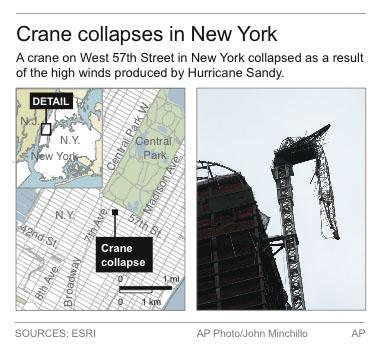 Graphic locates crane collapse in New York