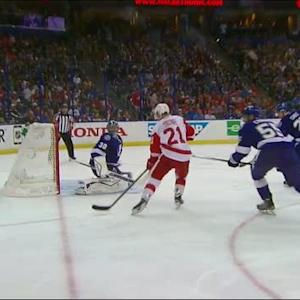 Tatar tips puck past Bishop in the 3rd period