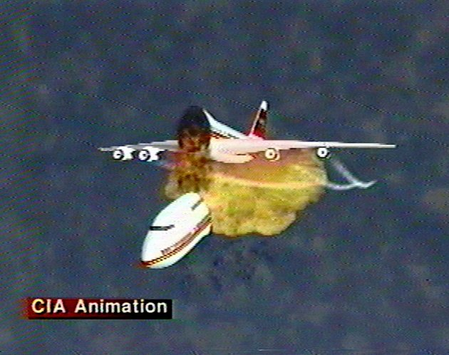 FILE - This file graphic image, provided by the Central Intelligence Agency, Dec. 9, 1997, shows an animation of the disintegration of Paris-bound TWA Flight 800 as it explodes off the coast of Long I