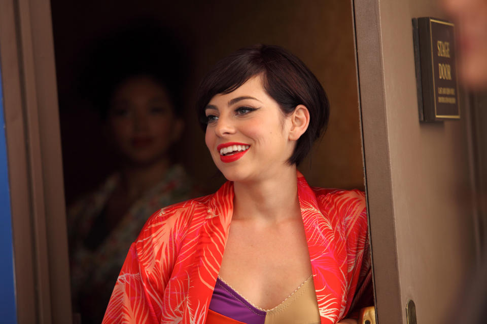"This 2012 publicity image released by NBC shows Krysta Rodriguez as Ana Vargas from the series ""Smash."" Rodriguez is starring in a new musical ""First Date,"" about a blind date opposite Zachary Levi, who led the TV show ""Chuck."" (AP Photo/NBC, Eric Liebowitz)"