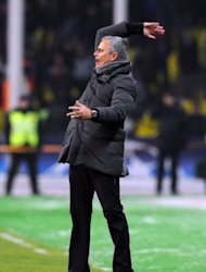 Head coach of Real Madrid Jose Mourinho reacts during the round of 16, first leg UEFA Champions League match against CSKA Moscow in Moscow. The match ended in a 1-1 draw