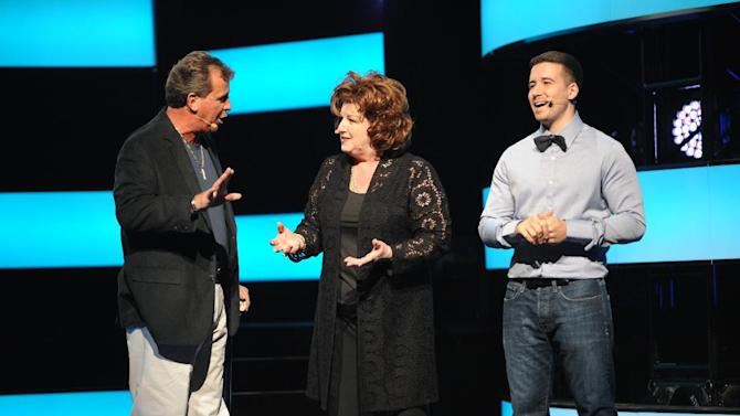 "From left, Uncle Nino, Paola and Vinny Guadagnino from ""The Show With Vinny""  at the 2013 MTV Upfront, on Thursday, April 25, 2013 at the Beacon Theater in New York. (Photo by Scott Gries/Invision/AP Images)"