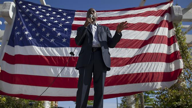 Republican presidential candidate Ben Carson speaks during a Memorial Day rally in Myrtle Beach