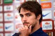 Croatian midfielder Niko Kranjcar gives a press conference in Warka near Warsaw on June 7, 2012, on the eve of the Euro 2012 football championships opening match.    AFP PHOTO / DIMITAR DILKOFFDIMITAR DILKOFF/AFP/GettyImages