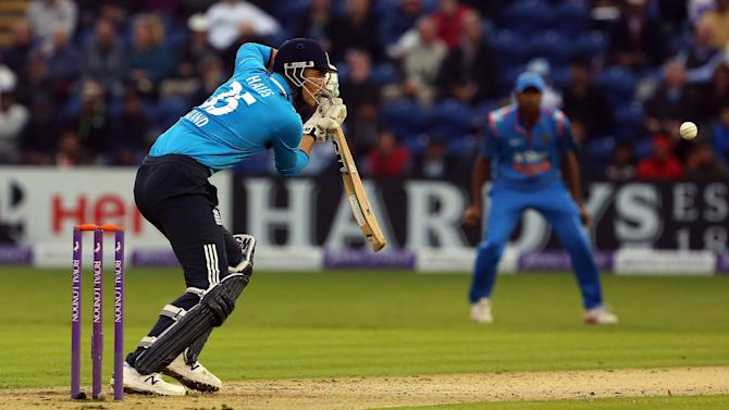 England's Alex Hales plays the ball in the second one-day international cricket match between England and India at the Glamorgan County Cricket Ground in Cardiff, Wales on August 27, 2014