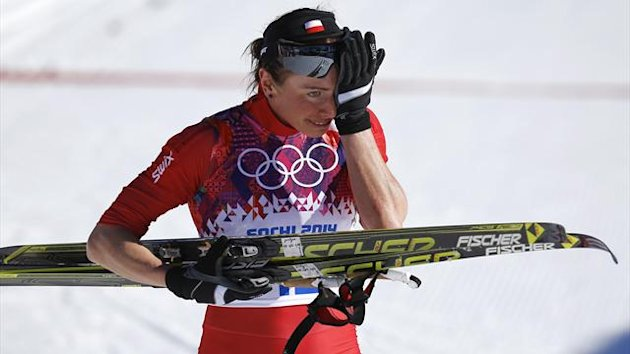 Justyna Kowalczyk reacts after the women's 10 km cross-country classic event at the Sochi 2014 Winter Olympic Games in Rosa Khutor February 13, 2014 (Reuters)