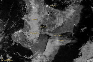 New Zealand Volcano Eruption Seen from Space