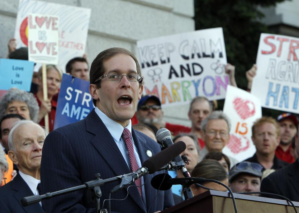 House Minority Leader Mark Ferrandino, D-Denver, speaks at a rally supporting Civil Unions at the Capitol in Denver on May 14, 2012. (AP Photo/Ed Andrieski)