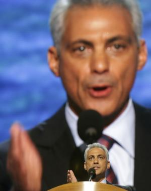 Chicago Mayor Rahm Emanuel addresses the Democratic National Convention in Charlotte, N.C., on Tuesday, Sept. 4, 2012. (AP Photo/Charles Dharapak)