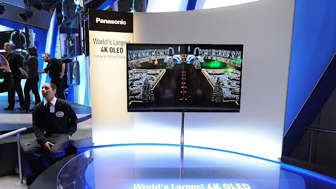 """IMAGE DISTRIBUTED FOR PANASONIC - The new Panasonic 56"""" 4K OLED Television displayed at the Panasonic booth at The 2013 International Consumer Electronics Show on Tuesday, Jan. 08, 2013, in Las Vegas, NV. (Photo by Al Powers/Invision for Panasonic/AP Images)"""