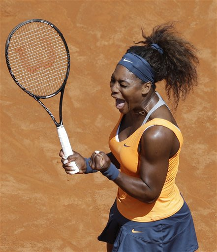 Serena Williams, of the United States, celebrates after winning her final match against Belarus' Victoria Azarenka at the Italian Open tennis tournament in Rome, Sunday, May 19, 2013. Serena Williams 