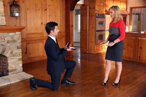 Amy Poehler and Adam Scott celebrate their 'Parks and Recreation' characters' engagement