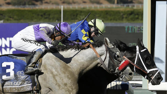 Shanghai Bobby, right, with Rosie Napravnik atop, crosses the finish line ahead of He's Had Enough, ridden by Mario Gutierrez, to win the the Breeders' Cup Juvenile horse race, Saturday, Nov. 3, 2012, at Santa Anita Park in Arcadia, Calif. (AP Photo/Gregory Bull)