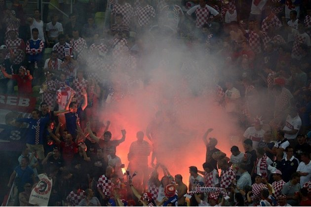A flare burns among Croatia …