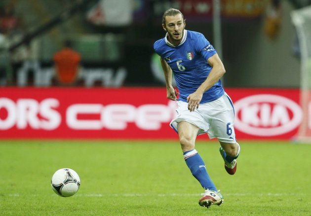 Italy's Balzaretti controls ball during their Euro 2012 semi-final soccer match against Germany at National Stadium in Warsaw