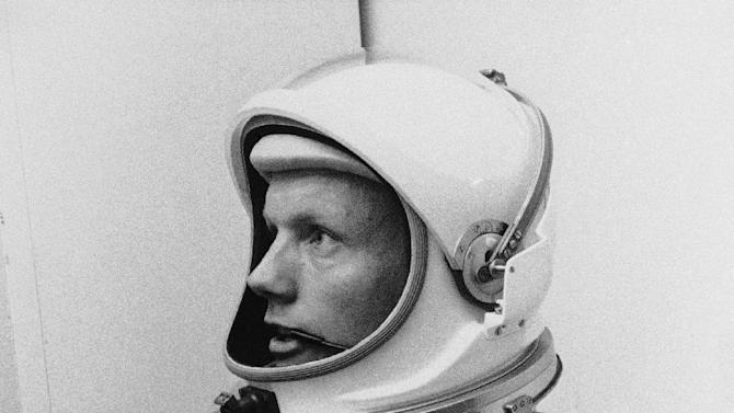 """FILE - In this March 6, 1966 file photo Astronaut Neil Armstrong, pilot for the Gemini VIII mission is shown. The family of Neil Armstrong, the first man to walk on the moon, says he has died at age 82. A statement from the family says he died following complications resulting from cardiovascular procedures. It doesn't say where he died. Armstrong commanded the Apollo 11 spacecraft that landed on the moon July 20, 1969. He radioed back to Earth the historic news of """"one giant leap for mankind."""" Armstrong and fellow astronaut Edwin """"Buzz"""" Aldrin spent nearly three hours walking on the moon, collecting samples, conducting experiments and taking photographs. In all, 12 Americans walked on the moon from 1969 to 1972.  (AP Photo/FILE)"""