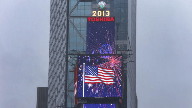 IMAGE DISTRIBUTED FOR TOSHIBA AND TDK - Blazing in patriotic colors of red, white and blue, a giant digitally-animated fireworks display celebrating the 4th of July will light up the skies of Times Square on the Toshiba Vision and TDK screens high atop One Times Square, Monday, July 1, 2013 in New York. The digital display will set the mood for Independence Day from today through July 7, 2013. (Photo by Jason DeCrow/Invision for Toshiba and TDK/AP Images)