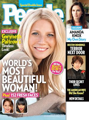 "This cover image released by People shows actress Gwyneth Paltrow on the cover of a special double issue.  The 40-year-old actress tops the magazine's annual list of the ""World's Most Beautiful,"" announced Wednesday, April 24, 2013.  Paltrow stars in the upcoming film, ""Iron Man 3,"" out on May 3. The issue is available on newsstands on Friday, April 26. (AP Photo/People Magazine)"