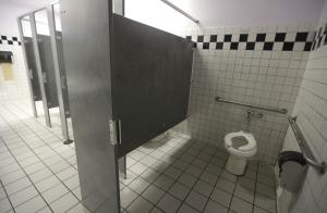 A disabled toilet stall is shown in the boys bathroom …