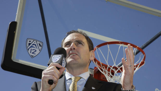 Pac-12 commissioner Larry Scott speaks about bringing the Pac-12 basketball tournament to Las Vegas during a news conference, Tuesday, March 13, 2012, in Las Vegas. Las Vegas will begin hosting the tournament in 2013. (AP Photo/Julie Jacobson)