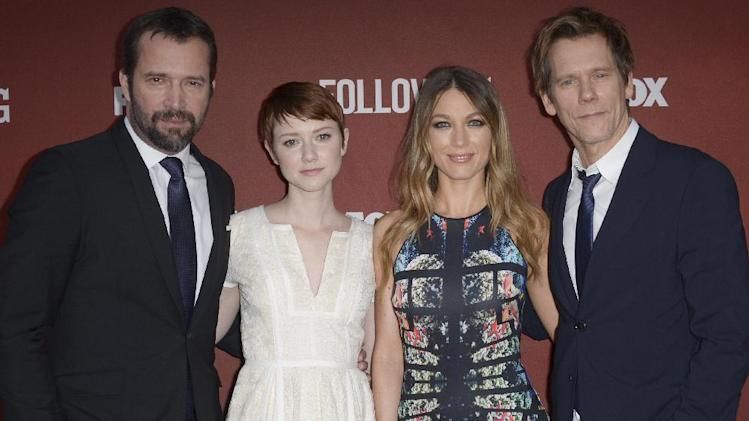"From left, James Purefoy, Valorie Curry, Natalie Zea, and Kevin Bacon arrive at the Academy Screening and Q and A for ""The Following"" at the Leonard H. Goldenson Theatre on Monday, April 29, 2013 in North Hollywood, Calif. (Photo by Richard Shotwell/Invision/AP)"
