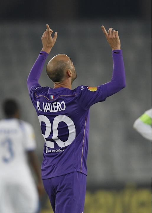 Fiorentina's Borja Valero celebrates scoring in the dying moments of an Europa League, group E match, between Fiorentina and Pandurii, at the Cluj Arena stadium in Cluj, Romania, Thursday, Nov. 7,  20
