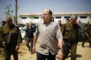 Israeli Defense Minister Yaalon visits a military base outside central Gaza Strip