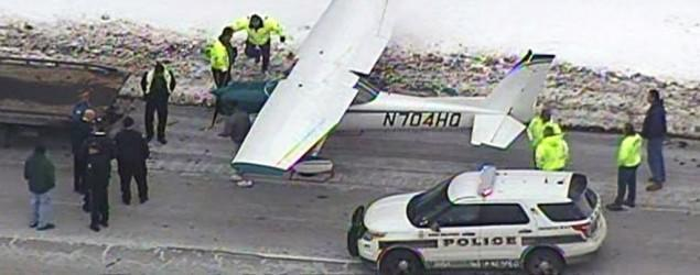 Small plane lands on New Jersey highway
