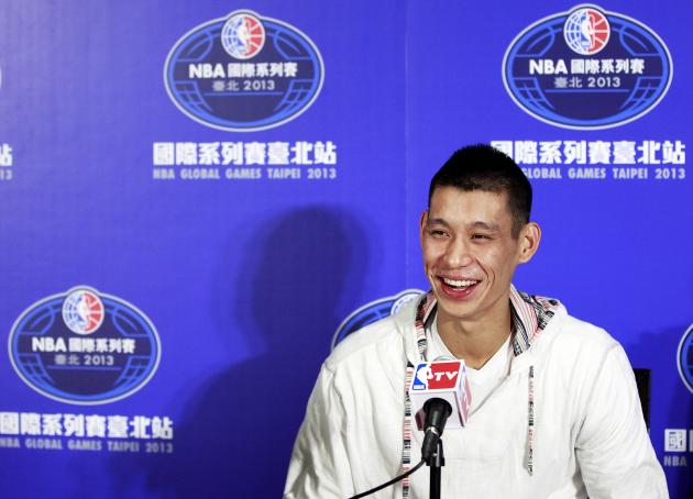 NBA Houston Rockets' Jeremy Lin attends a news conference in Taipei
