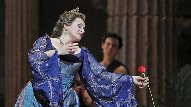 "This undated publicity photo provided by the San Francisco Opera shows soprano Patricia Racette as Elena in Act IV during the dress rehearsal of ""Mefistofele,"" in San Francisco. (AP Photo/Copyright San Francisco Opera, Cory Weaver)"