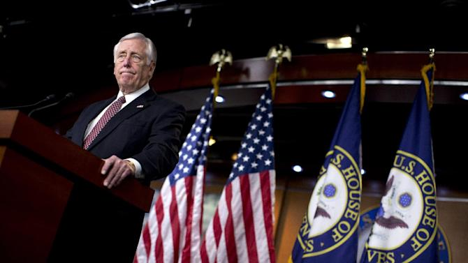 House Minority Whip Rep. Steny Hoyer of Md., pauses during a news conference on Capitol Hill in Washington, Thursday, Dec. 27, 2012, where he urged House Republicans to end the pro forma session and call the House back into legislative session to negotiate a solution to the fiscal cliff.  (AP Photo/ Evan Vucci)