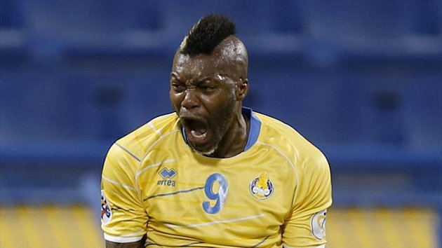 Djibril Cisse of Qatar's Al-Gharafa celebrates after scoring against Saudi Arabia's Al-Ahli during a AFC Champions League game (Reuters)