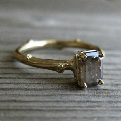 Twig-Shaped Diamond Ring