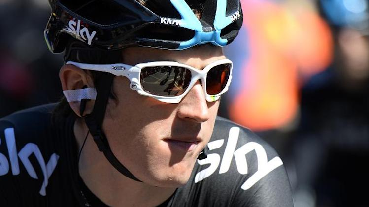 Britain's Geraint Thomas arrives for the signature ceremony before the start of the 190.5 km first stage of the 101st edition of the Tour de France cycling race between Leeds and Harrogate, northern England on July 5, 2014