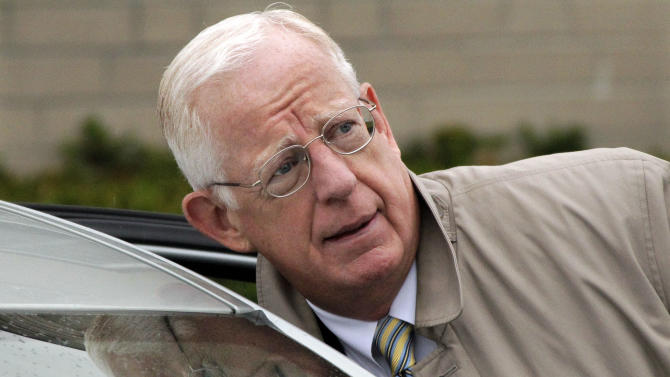 Judge John Cleland arrives at the Centre County Courthouse for the second day of testimony in the trial of former Penn State University assistant football coach Jerry Sandusky, Tuesday, June, 12, 2012 in Bellefonte, Pa.. Sandusky is charged with 52 counts of child sexual abuse involving 10 boys over a period of 15 years. (AP Photo/Gene J. Puskar)