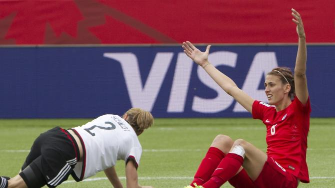 England's Jill Scott (8) reacts to a call as Germany's Bianca Schmidt (2) gets up during second-half action of the FIFA Women's World Cup soccer third-place match in Edmonton, Alberta, Canada, on Saturday, July 4, 2015. (Jason Franson/The Canadian Press via AP) MANDATORY CREDIT