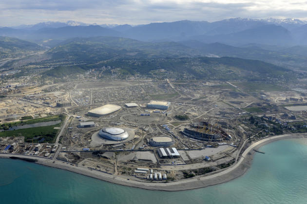 Picture taken from a helicopter on May 18, 2012, shows a general view of the construction area of the Olympic Park in the Black Sea resort of Sochi. Sochi will host the 2014 Winter Olympics which will
