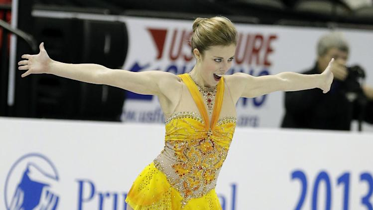 Ashley Wagner competes during the senior ladies free skate program at the U.S. figure skating championships on Saturday, Jan. 26, 2013, in Omaha, Neb. (AP Photo/Charlie Neibergall)