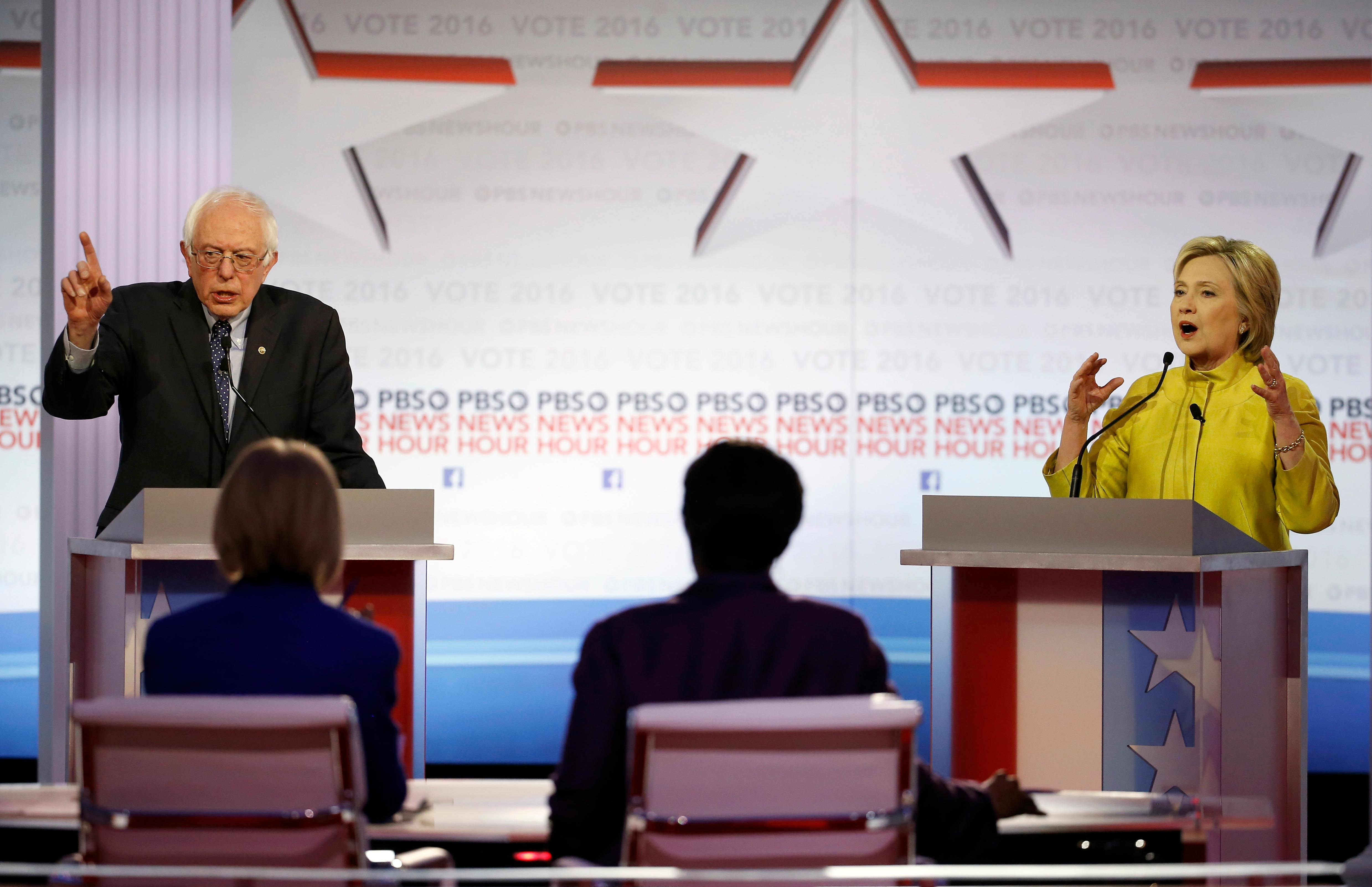 Hillary Clinton and Bernie Sanders spar over super-PACs and megadonors