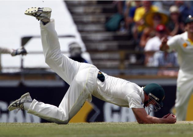 Australia's George Bailey takes the final catch to dismiss England's James Anderson and win their Ashes test cricket series at the WACA ground in Perth