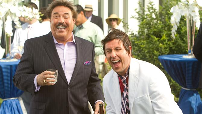 "This film image released by Columbia Pictures shows Tony Orlando, left, and Adam Sandler in a scene from ""That's My Boy."" Sixty-eight-year-old Orlando said in a recent interview that the idea to cast him in the film which opens Friday, came about after running into Sandler at a birthday party for a mutual friend. Two days later Sandler called him up asking if he'd want to appear in his next film. (AP Photo/Columbia Pictures - Sony, Tracy Bennett)"