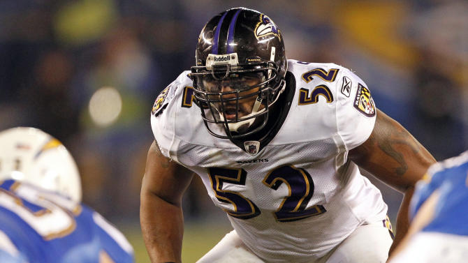 FILE - In this Dec. 18, 2011, file photo, Baltimore Ravens linebacker Ray Lewis peers over the line of scrimmage during the first half of a NFL football game against the San Diego Charges in San Diego. Lewis announced, Wednesday, Jan. 2, 2013, that he will end his brilliant NFL career after the Ravens complete their 2013 playoff run. (AP Photo/Lenny Ignelzi, File)
