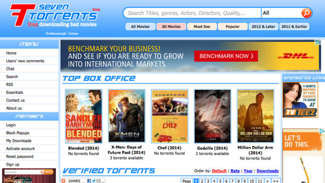 This screen shot shows the home page for the website seventorrents.org, featuring a banner ad for shipping company DHL. Movie and music piracy thrives online in part because crafty website operators are siphoning advertising dollars from major companies. That's the conclusion of several recent reports that shed light on Internet piracy's funding sources. (AP Photo)