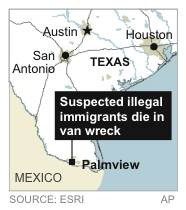 Map locates town where suspected illegal immigrants crashed their van not long after a border patrol traffic stop, at least nine of the suspects were killed in the crash.