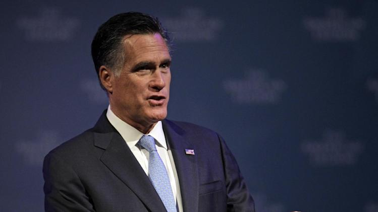 Republican presidential candidate, former Massachusetts Gov. Mitt Romney speaks at the American Legion's national convention in Indianapolis, Wednesday, Aug. 29, 2012. (AP Photo/Michael Conroy)