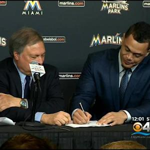 Stanton Signs Record Deal At Marlins Park News Conference